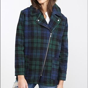 NWT✨ Forever 21 Blue Green Plaid Pea Coat Jacket L